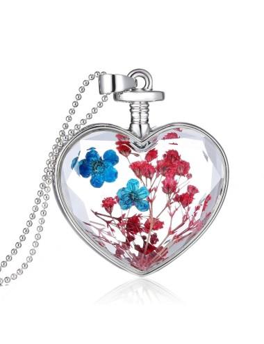 Collar Encapsulado Plateado Corazón Flores Celeste con rosado