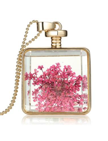 Collar Encapsulado Dorado Cuadrado Flores Rosadas