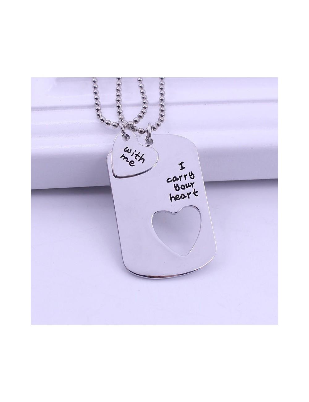 "Collar para pareja ""I carry your heart with me"""