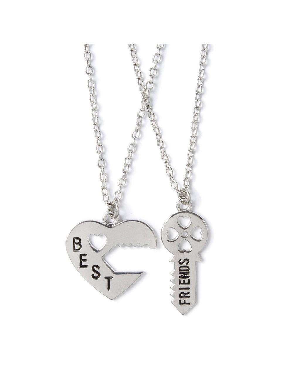 """Collar para dos amigos """"BFF"""" con dije de llave y corazón"""