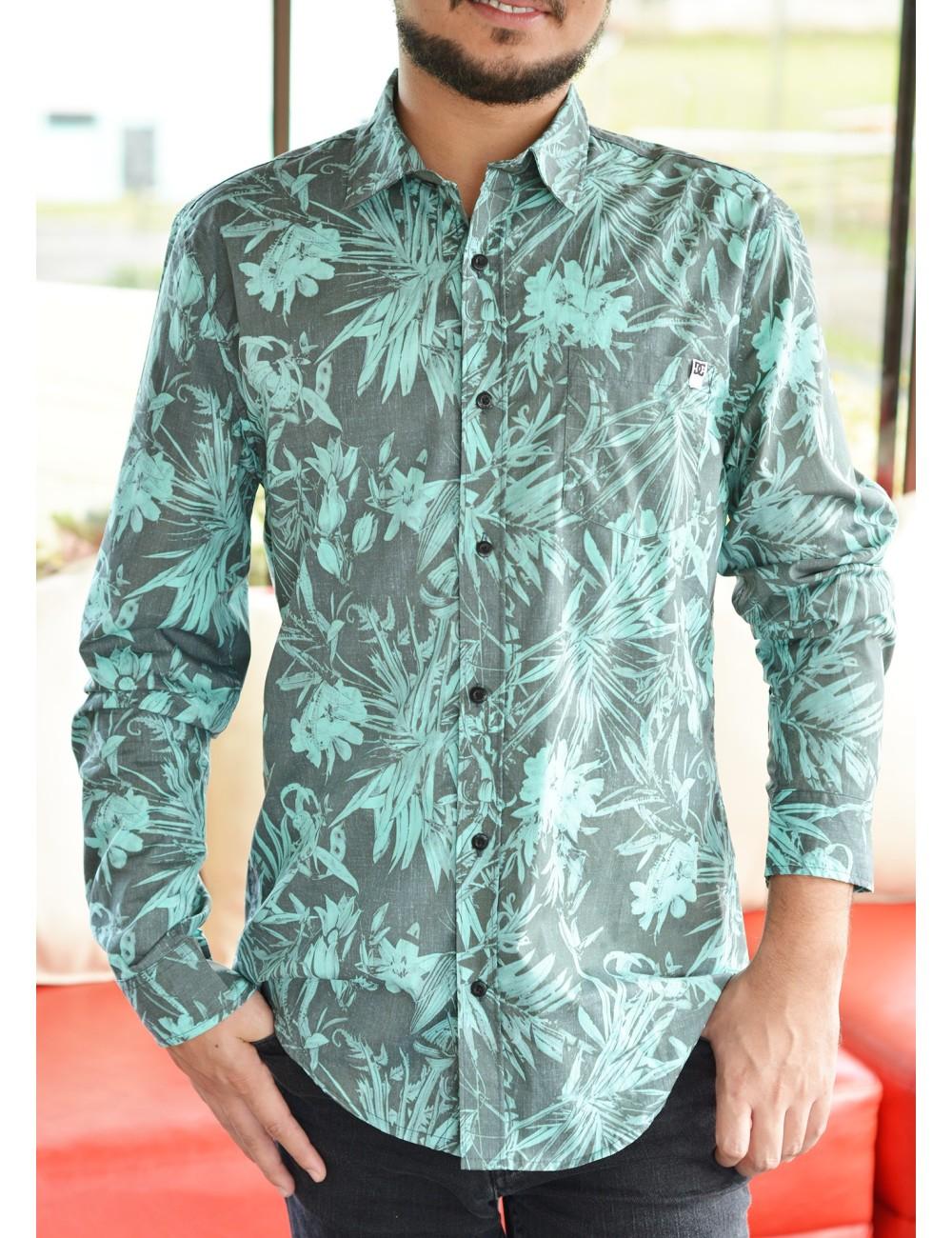 Camisa manga larga gris con estampado floreado verde DC