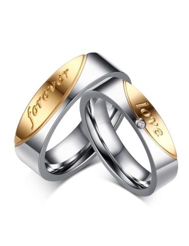 """Anillos para parejas de acero inoxidable plateado con dorado """"Forever Love"""""""