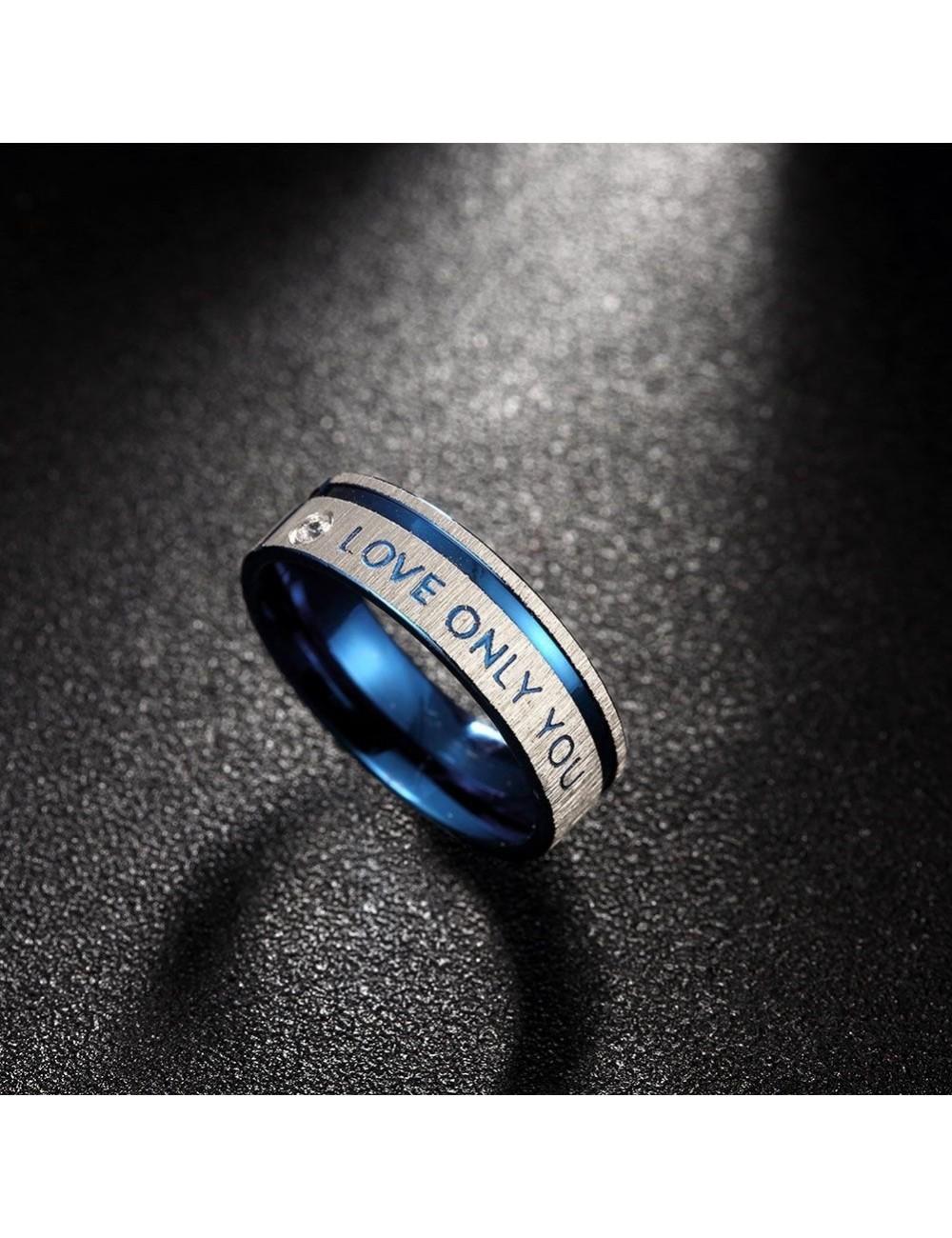 """Anillos para parejas de Acero azul con plateado """"Love Only You"""""""