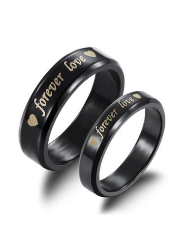 "Anillos para parejas de Titanio color negro ""Forever Love"""