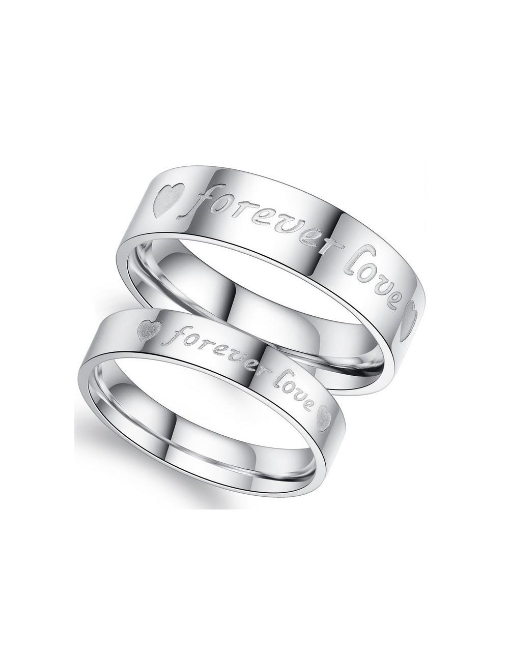 """Anillos para parejas de Acero plateados """"Forever Love"""""""