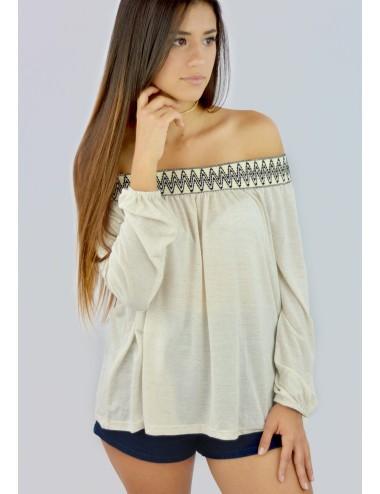Blusa hombros descubiertos con elástico diseño tribal