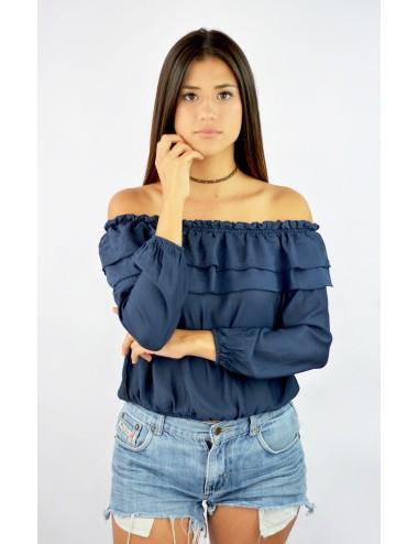 Blusa hombros descubiertos azul manga larga