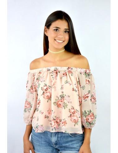 Blusa hombros descubiertos manga 3/4 floreada