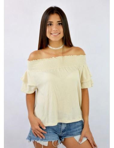 Blusa hombros descubiertos doble manga con elástico