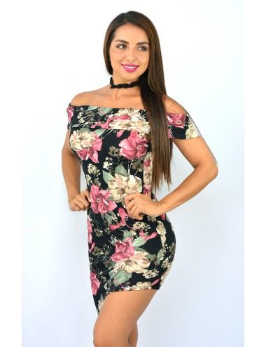 Vestido negro estampado flores hombros descubiertos