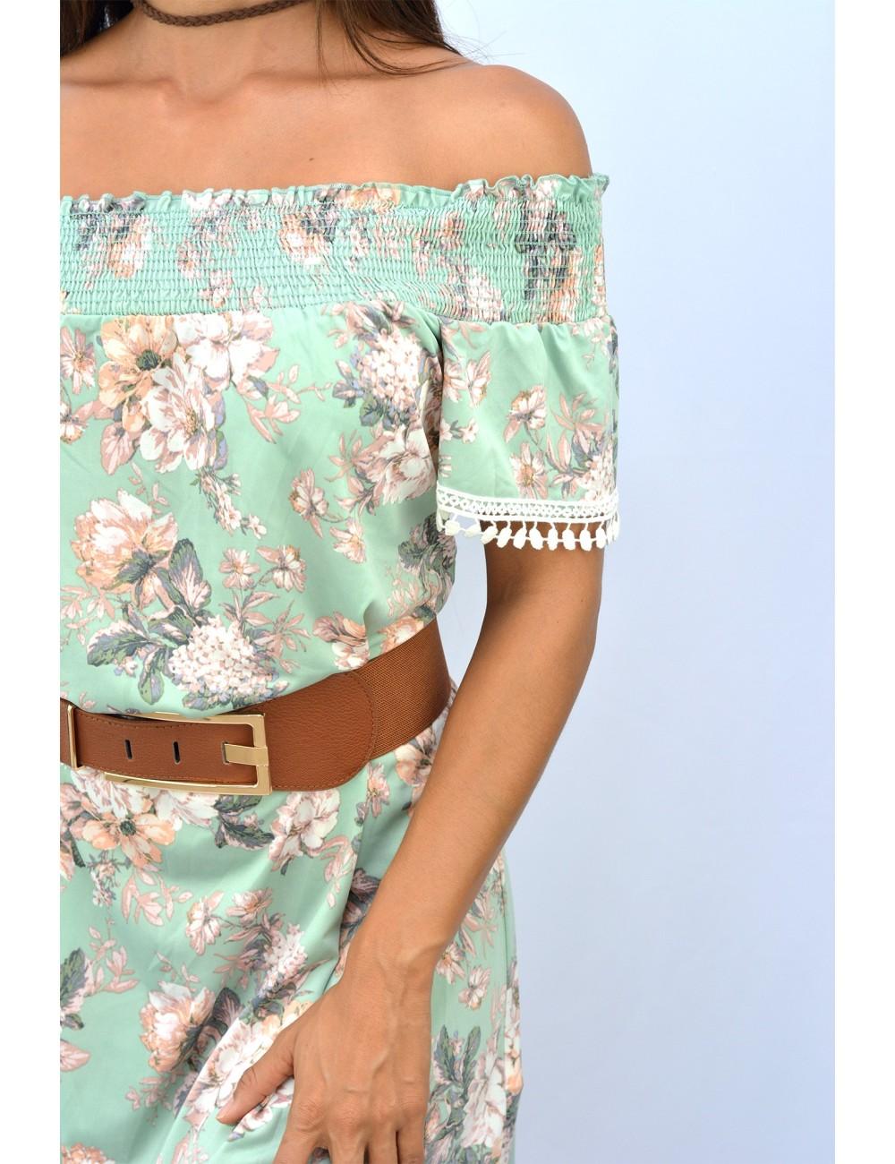 Vestido color menta estampado flores con bordado crochet