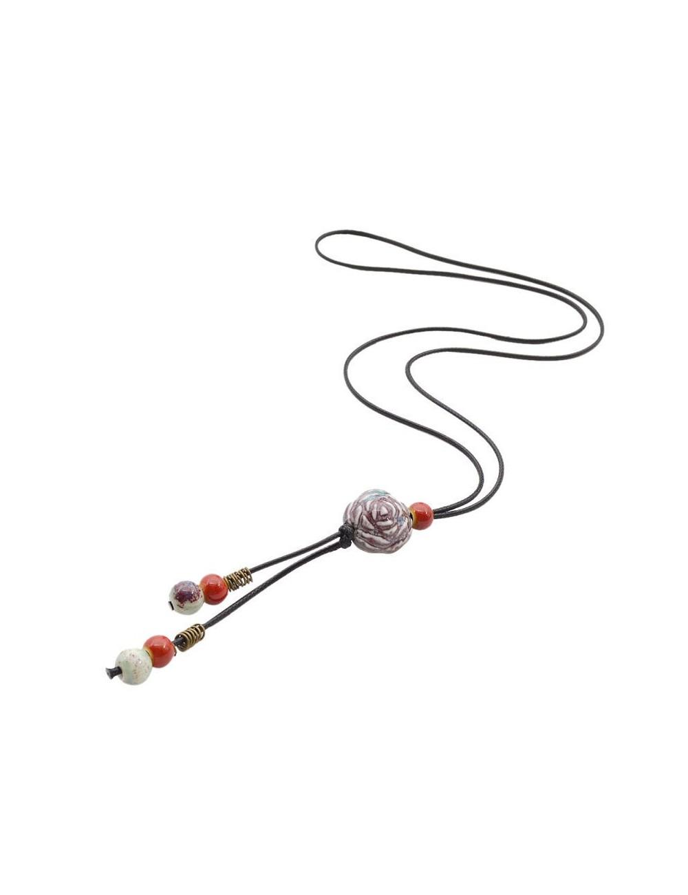 Collar Tassel con beads de ceramica