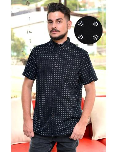 Camisa manga corta negra con estampado blanco