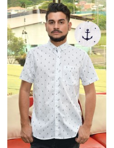 Camisa manga corta blanca con anclas azules