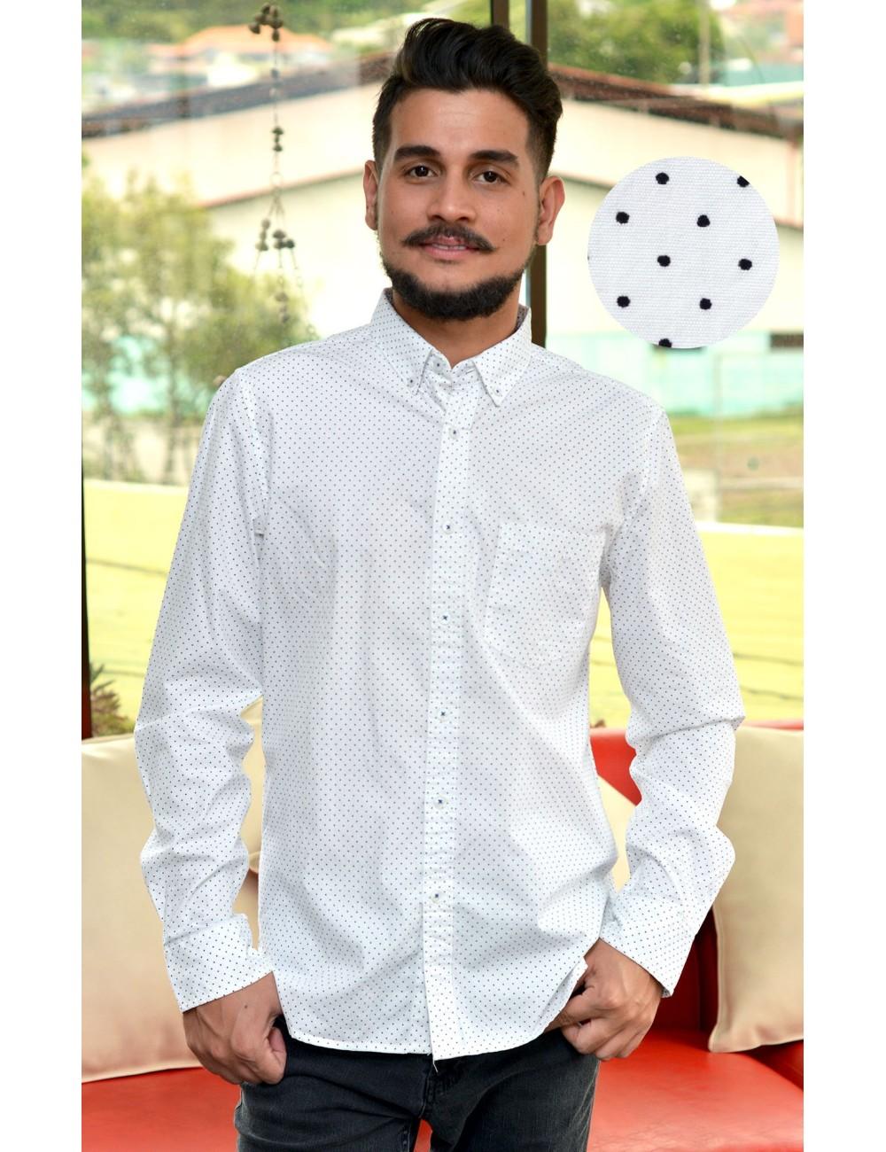 Camisa blanca manga larga con puntos negros