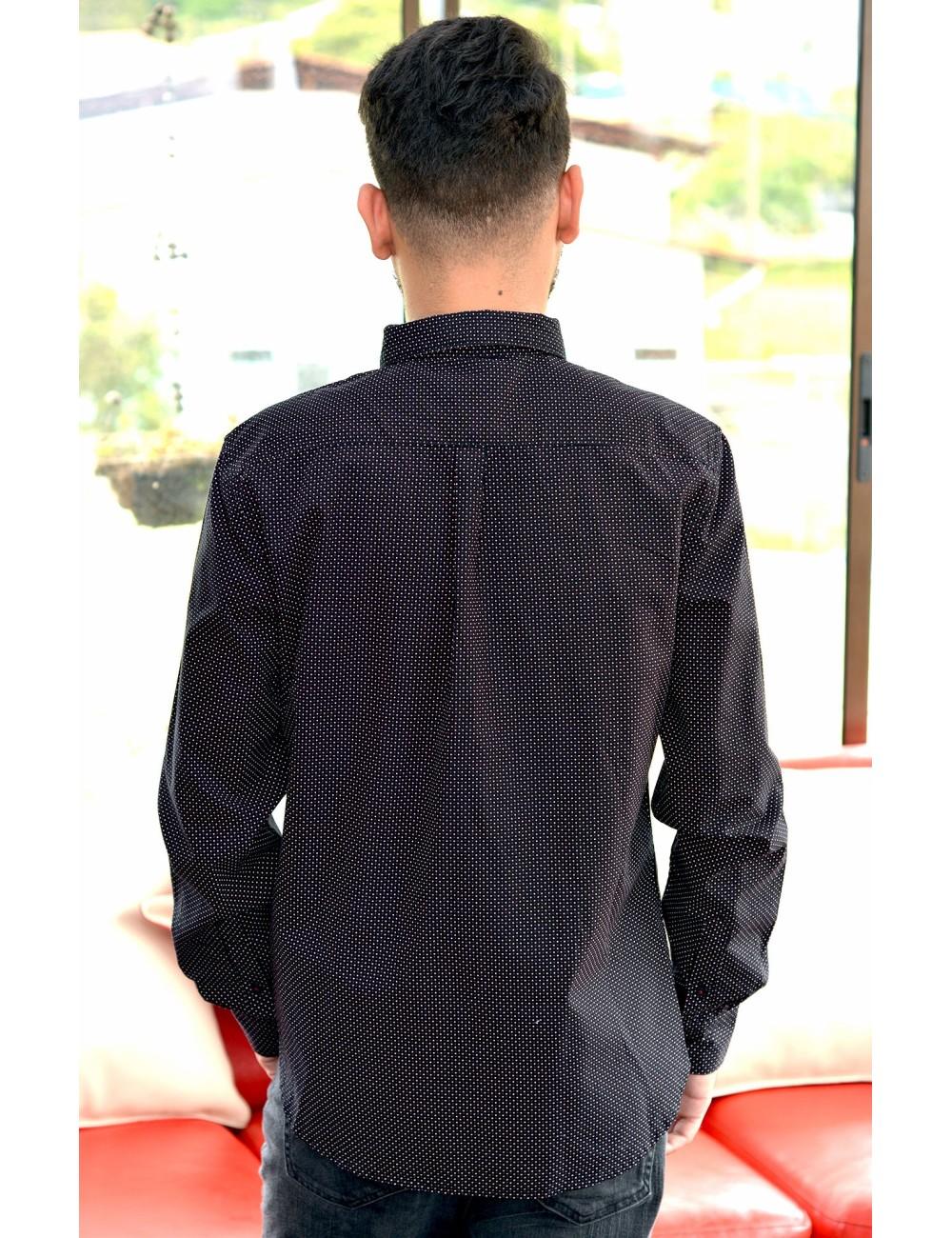 Camisa manga larga puntos rojos y blancos