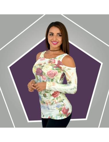 Blusa estampada manga larga hombros descubiertos