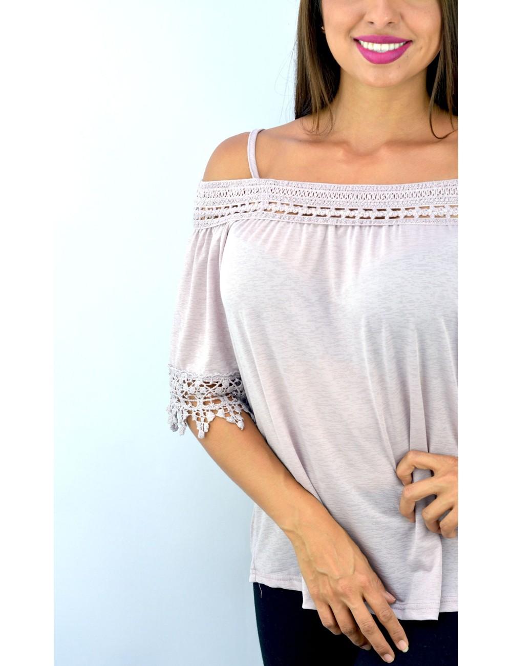 Blusa palo rosa hombros descubiertos crochet
