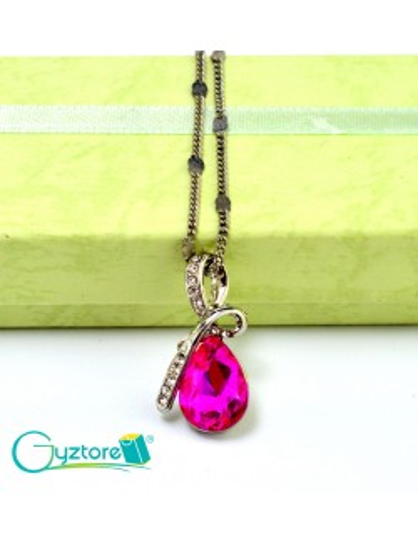 Collar Austriaco Diseño Gota Cristal Rosado