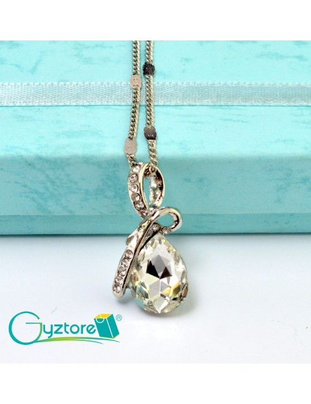 Collar Austriaco Diseño Gota Cristal Blanco