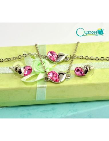 Set de joyería Love color rosado