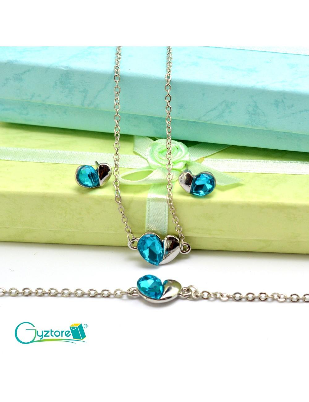 Set de joyería Love color celeste