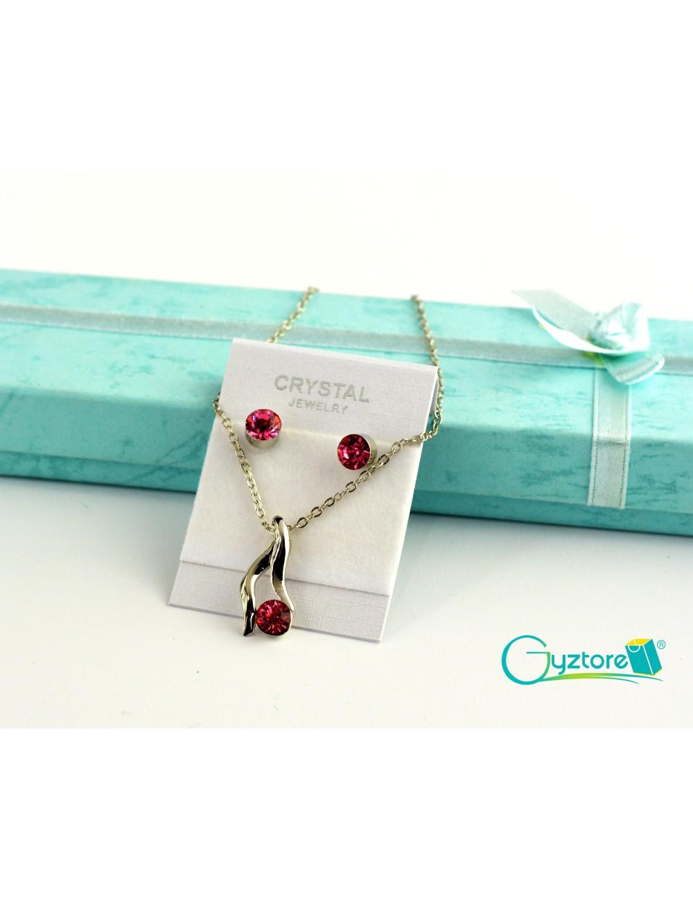 Set de joyería Bridal color plateado con dije de cristal rojo