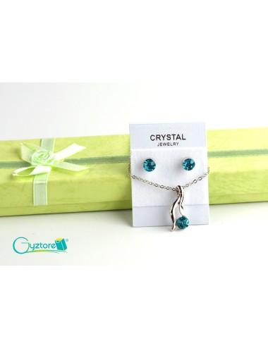 Set de joyería Bridal color plateado dije de cristal azul
