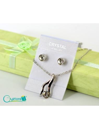 Set de joyería Bridal color plateado dije de cristal blanco