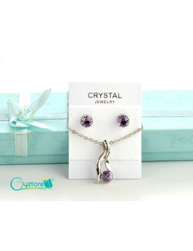 Set de joyería Bridal color plateado dije de cristal lila