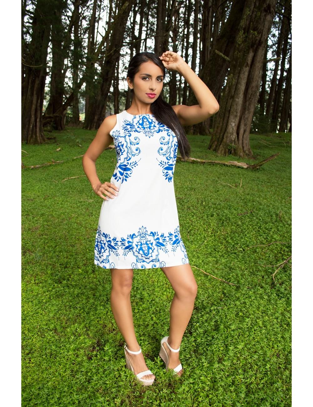 Vestido corto Blue Flowers