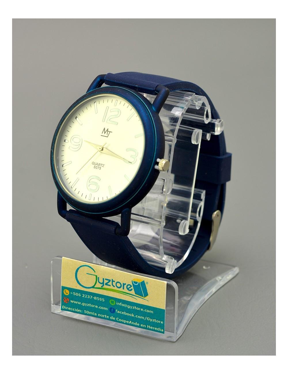 Reloj casual acero inoxidable con faja silicón números grandes