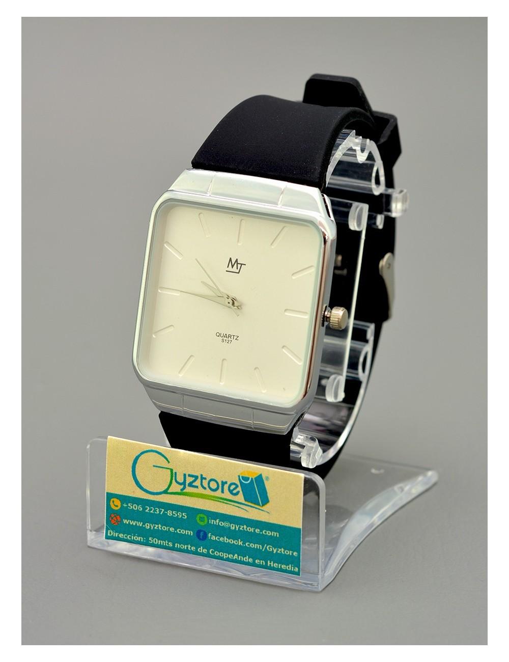 Reloj casual cuadrado acero inoxidable con faja silicon