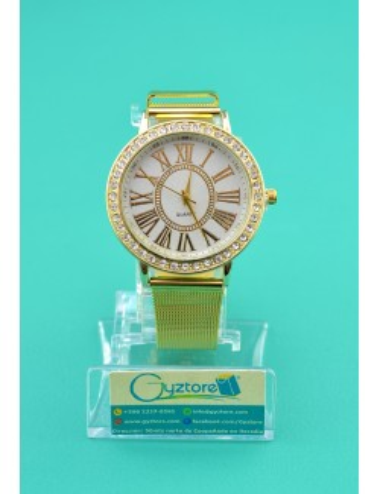 Reloj de acero inoxidable dorado numeros romanos