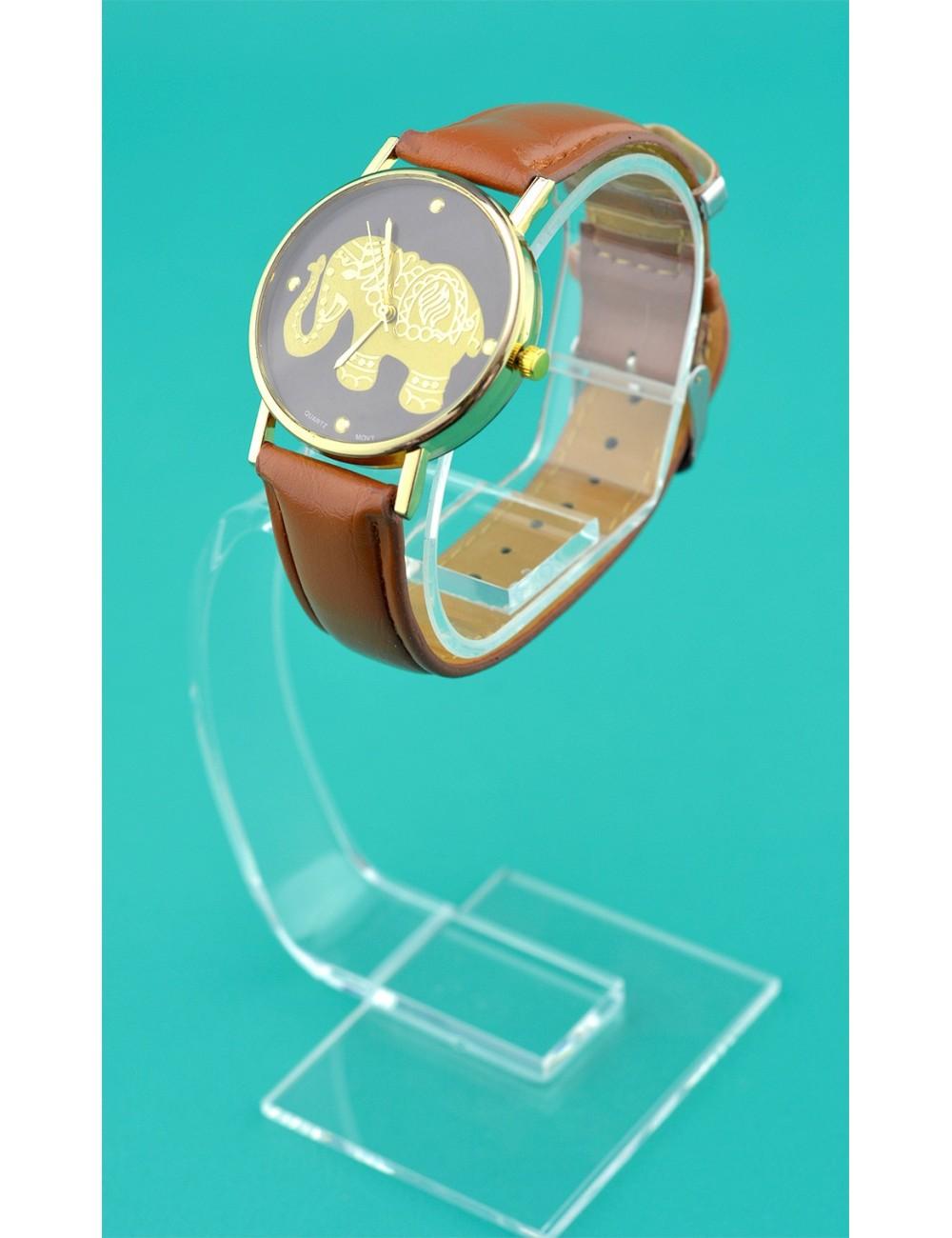 Reloj diseño de elefante dorado
