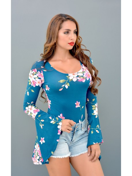 Leotardo/BodySuit floreado manga campana