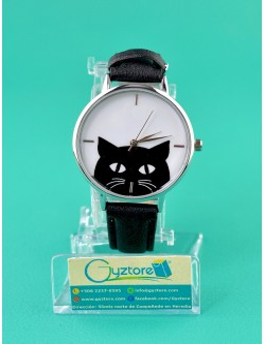 Reloj de gato color negro