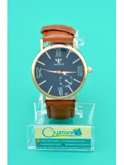 Reloj Yazole color cafe vidrio luminoso