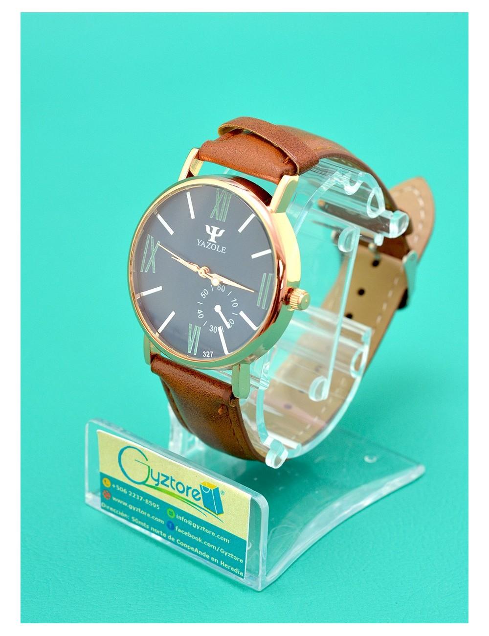 Reloj Yazole color cafe vidrio luminoso