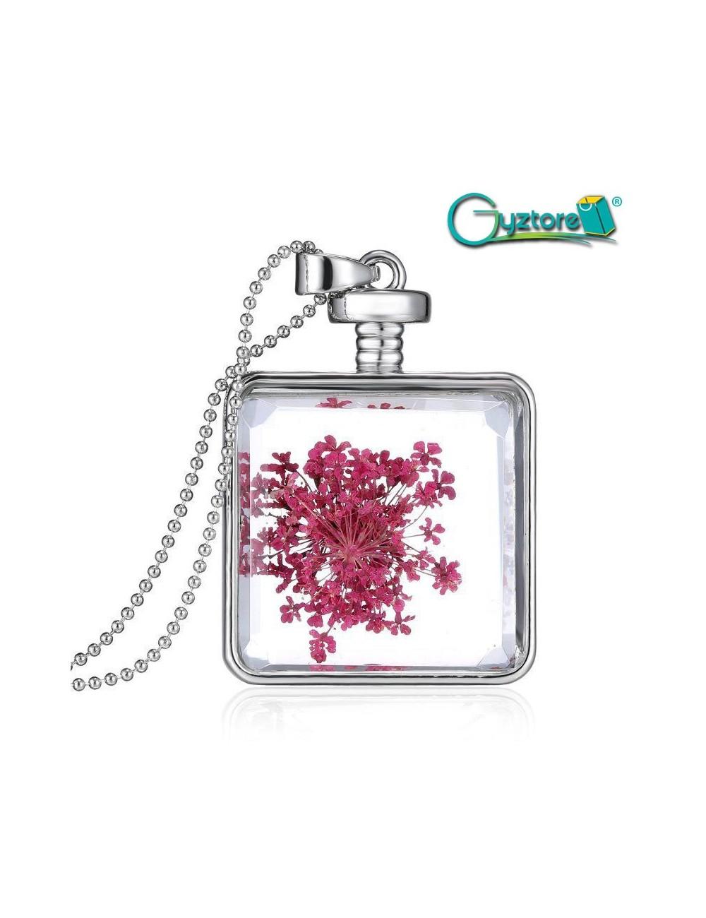 Collar encapsulado plateado cuadrado flores rosadas