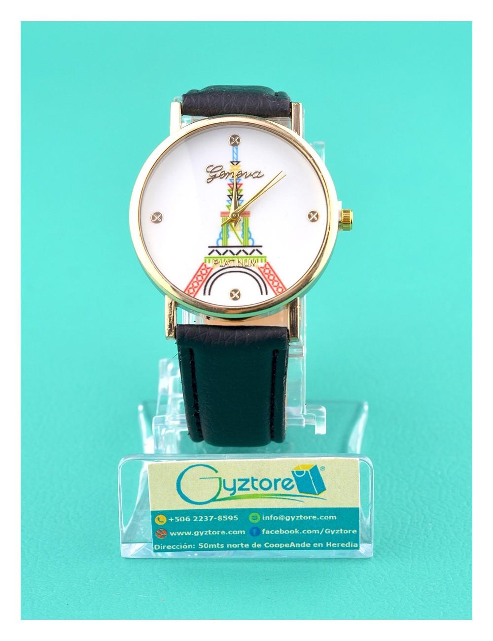 Reloj negro con torre eiffel de colores