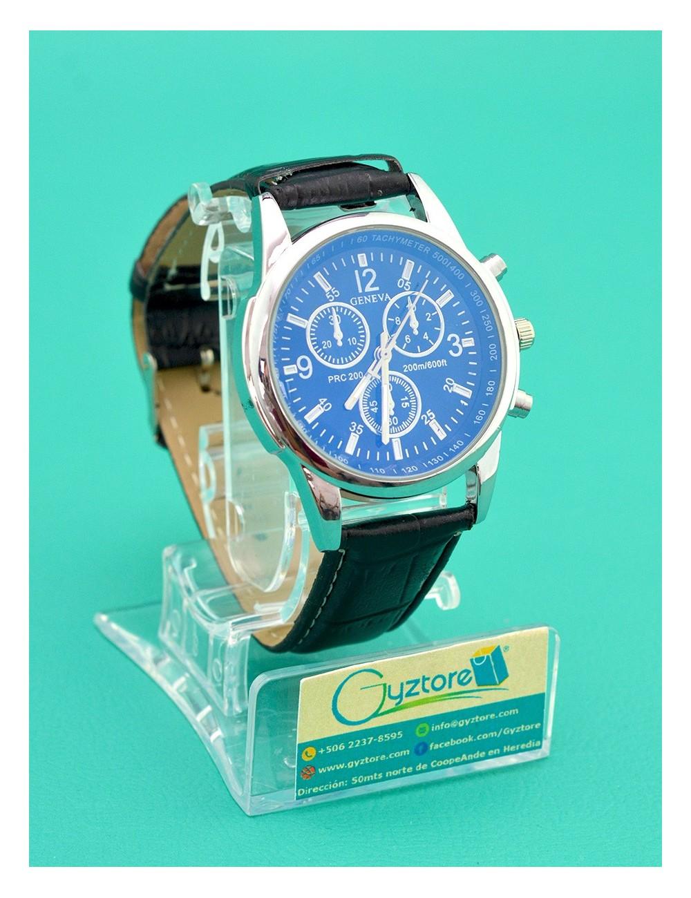 Reloj geneva de vestir vidrio luminoso azul