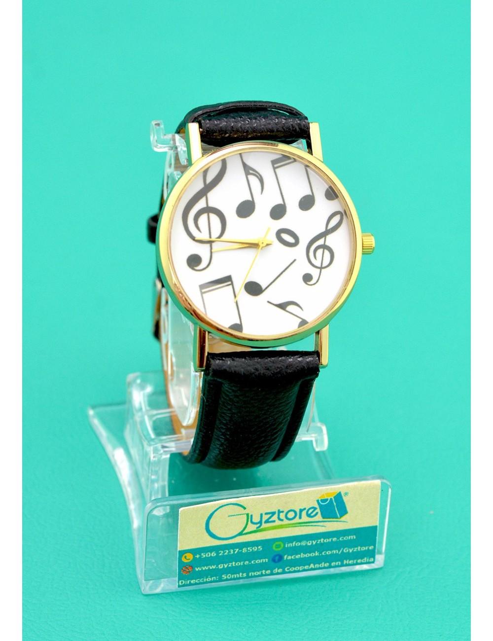 Reloj color negro diseño notas musicales