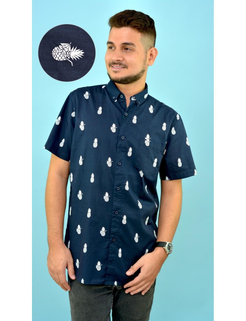 Camisa azul estampado pinas blancas