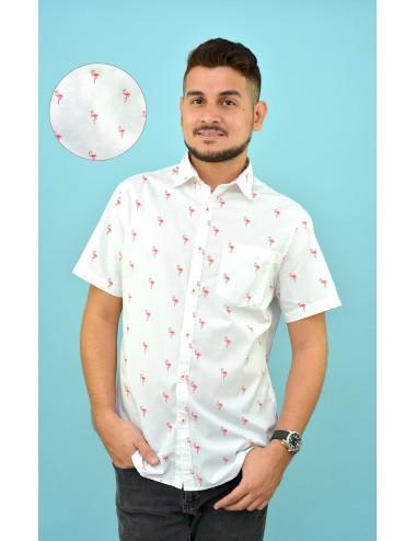 Camisa blanca estampado flamingos rosados