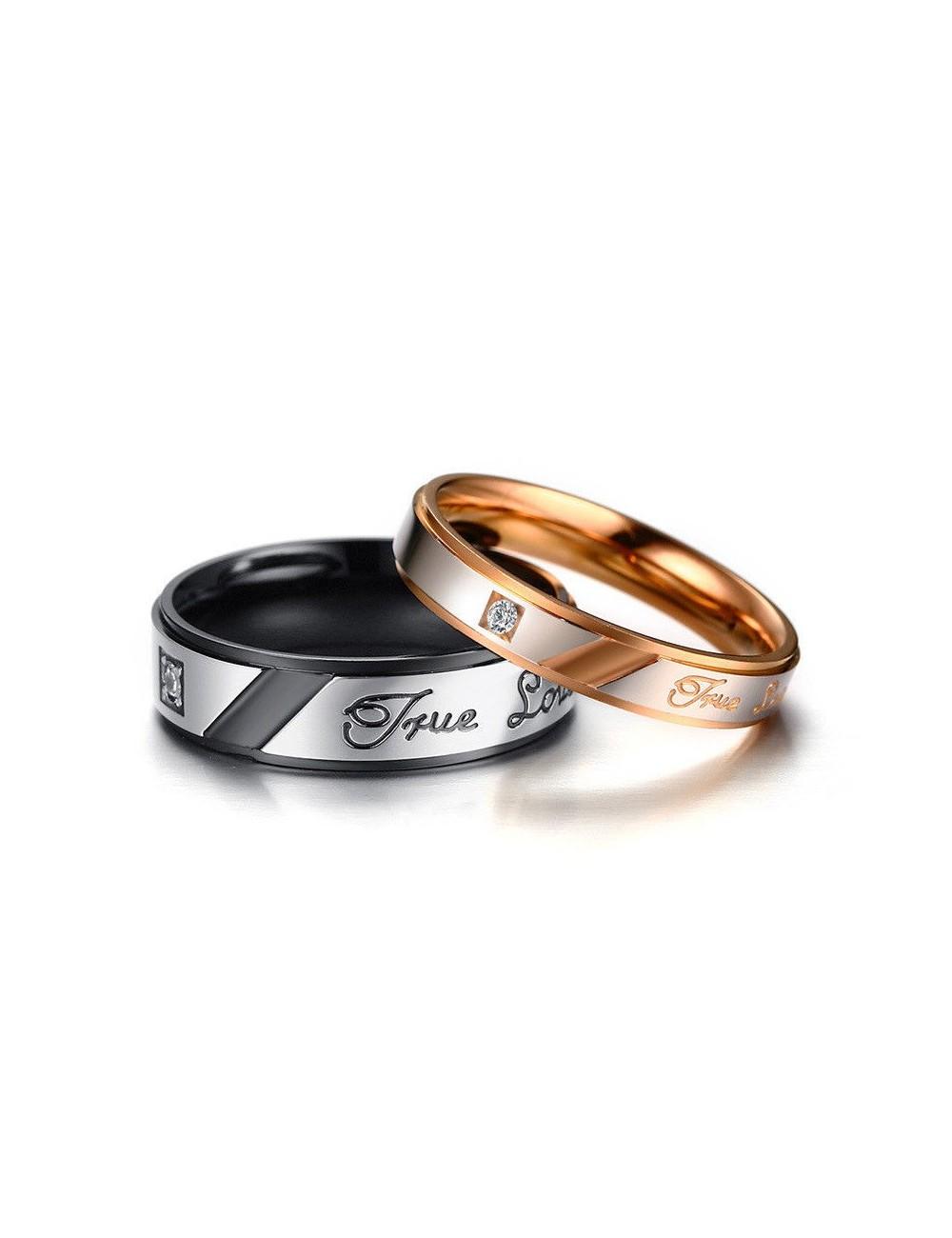 """Anillos para parejas de acero inoxidable """"True Love"""""""