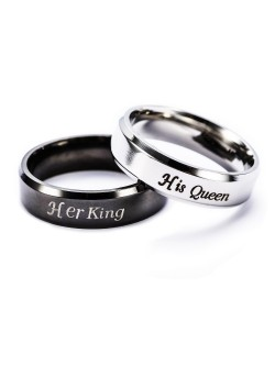 "Anillos para parejas de acero inoxidable ""Her King, His Queen"""