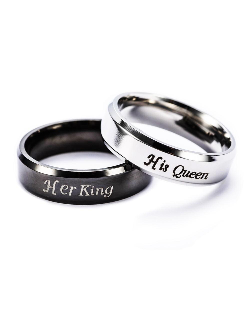 """Anillos para parejas de acero inoxidable """"Her King, His Queen"""""""