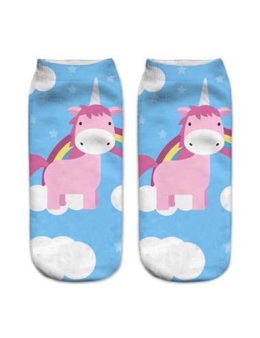 Medias celestes con estampado de unicornios