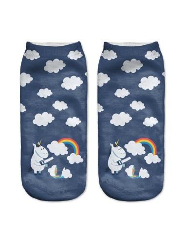 Medias azules con estampado de unicornios con nubes